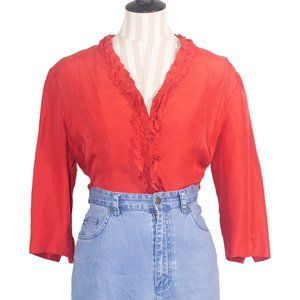 "Vintage ""Papell Petites"" 100% Silk Ruffled Blouse"